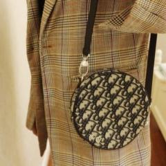 时髦可爱的圆饼包 dior ophidia老花帆布包