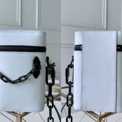 白色epi牛皮 PHONE BOX LV手机包 迷你圆筒包