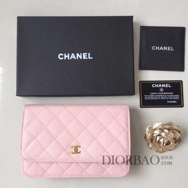 香奈儿发财包迷人搭配,款式大全,粉色球纹鱼子酱牛皮,优雅的woc chanel链条包