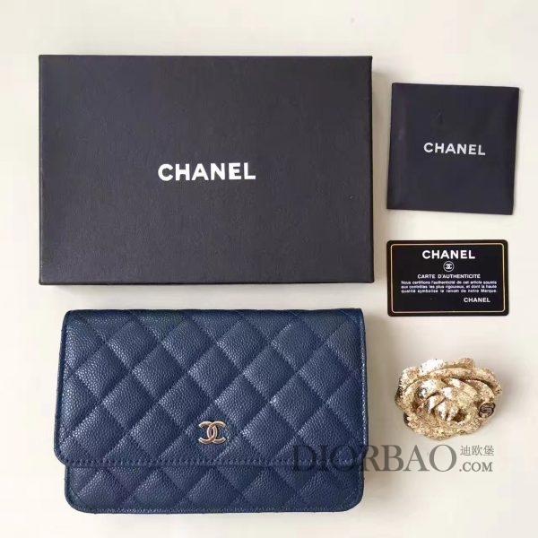 香奈儿发财包迷人搭配,款式大全,蓝色球纹鱼子酱牛皮,优雅的woc chanel链条包