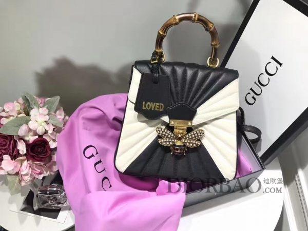 杨幂同款Gucci玛格丽特皇后系列双肩包,黑白色