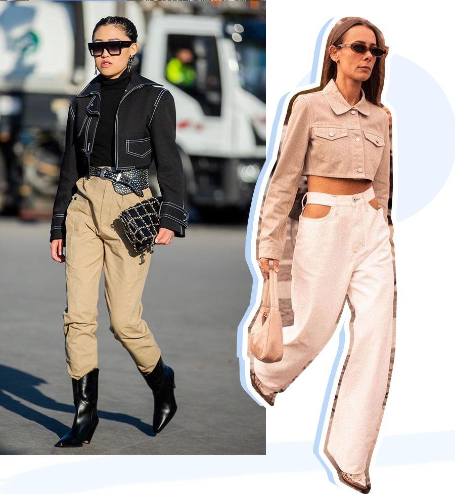 街拍秀,牛仔外套搭配长短裤子的时髦减龄穿法